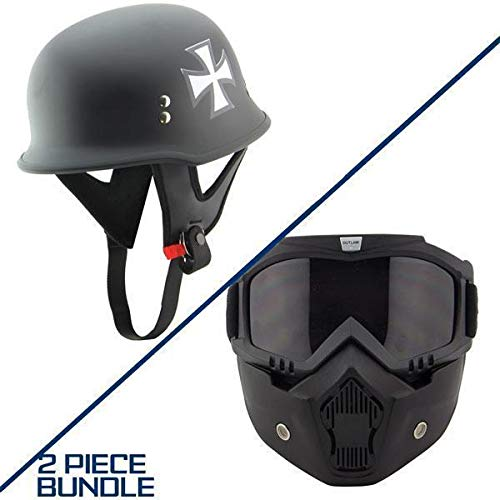 Dot Outlaw Motorcycle - Outlaw T-75 Iron Cross German Style Flat Black Half Helmet with Outlaw 50 Nemes - 2XL w/ 50 Outlaw Mask