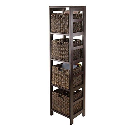 Ergode Granville 5pc Storage Tower Shelf with 4 Foldable Baskets, Espresso