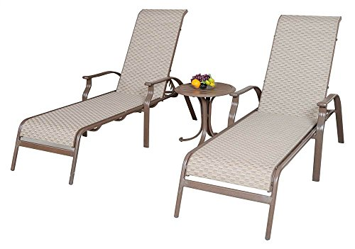 - Panama Jack Outdoor Island Breeze Sling 3-Piece Chaise Lounge Set, Includes 2 Stackable Chaise Lounges and End Table
