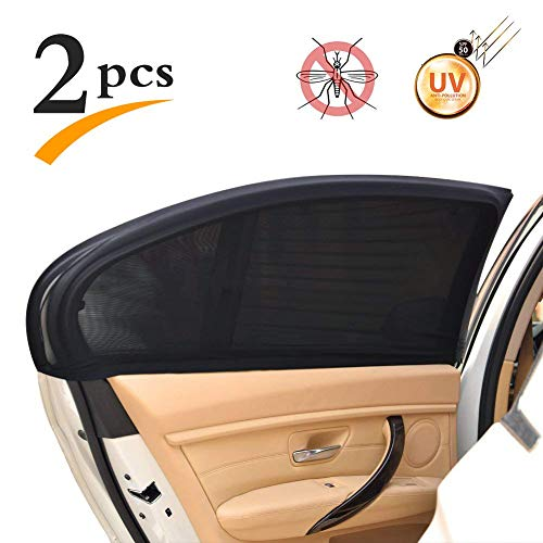 2Pcs Car Window Shade for Sun UV Baby Insects Protection Universal Fit Adjustable Sun Shade Breathable Mesh Car Curtains Anti Mosquito Bug Window Net Car Rear Door Outdoor Camping Netting (XL)