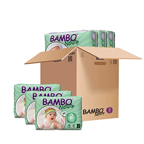 Bambo Nature Eco Friendly Baby Diapers Classic for Sensitive Skin, Size 2 (7-13 lbs), 180 Count (6 Packs of 30) ()