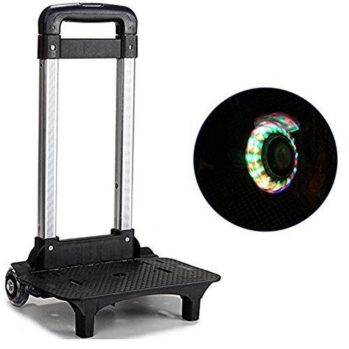 HomDSim Carrito con ruedas para niños y estudiantes, aleación de aluminio, con cinta para sujetar la mochila, Rosado