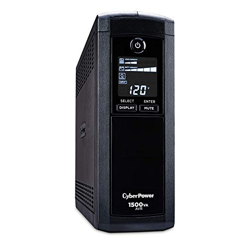 CyberPower CP1500AVRLCD Intelligent LCD UPS System, 1500VA/900W, 12 Outlets, AVR, Mini-Tower