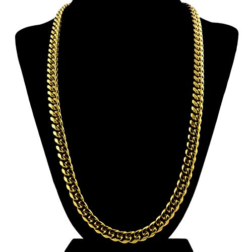 Gold Cuban Link Chain Necklace For Men Real Solid 18k Plated + Luxury Gift ()