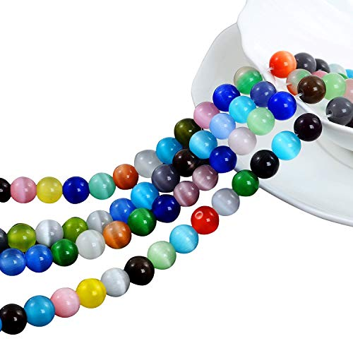 YUEAON 100PCS 8mm Natural Gemstone Beads Round Cat's Eye Loose Stone Beads for Jewelry Making DIY Bracelets neckalce Wholesale-Bulk lots-30 inches Strand-Colorful-Polished