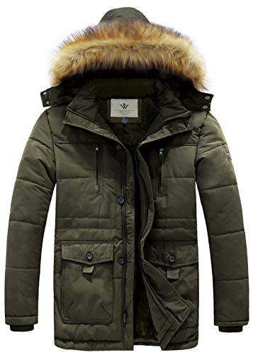 WenVen Men's Hooded Warm Coat Winter Parka Jacket (Army Green, XX-Large) (Parka Coats For Men With Fur Collar)