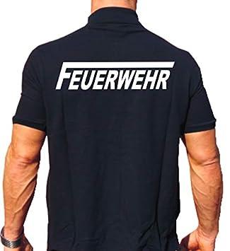 feuer1 Polo-Shirt FEUERWEHR mit langem F - weisser beidseitiger Schriftzug 5463b18758