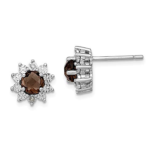 - 925 Sterling Silver Diamond Smoky Quartz Post Stud Earrings Ball Button Fine Jewelry Gifts For Women For Her