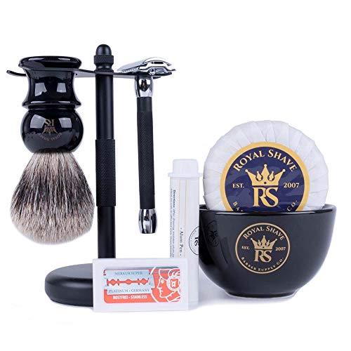 RoyalShave Black & Chrome Shaving Set - Stylish Safety Razor Set for Men and Father's Day Gift!