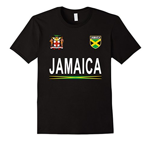 Mens Jamaica Soccer T-Shirt - Jamaican Retro Football Jersey 2017 Large Black