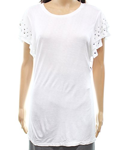 INC Womens Small Crewneck Studded T-Shirt Knit Top White - Studded Crewneck Top
