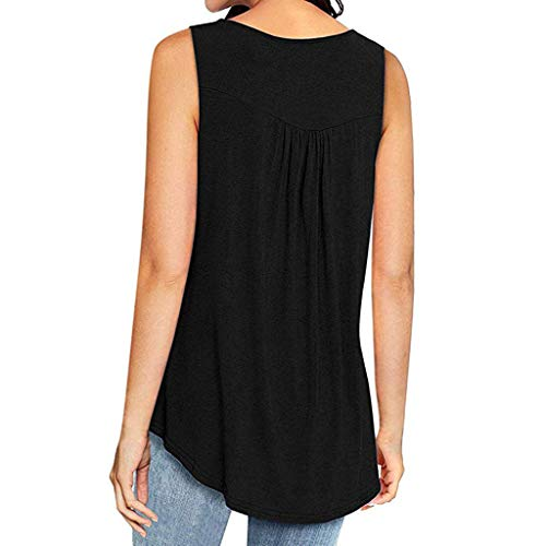 Women Sleeveless Tank Top,Summer Sleeveless Front Buttons V Neck Casual Swing Shirts Pleated Tunic Blouses Workout Vest (Black, L)