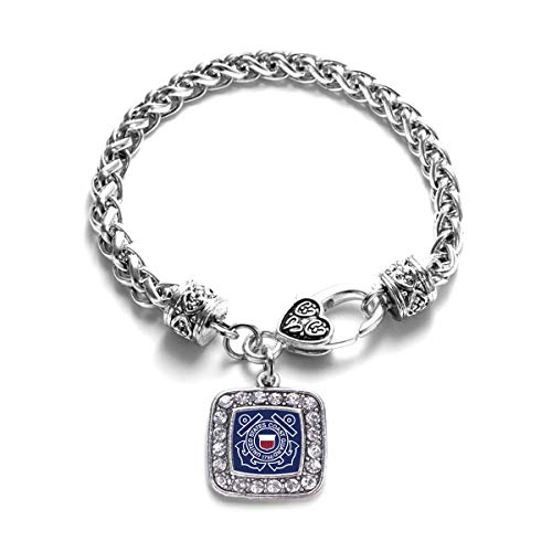 - Inspired Silver - Coast Guard Symbol Braided Bracelet for Women - Silver Square Charm Bracelet with Cubic Zirconia Jewelry