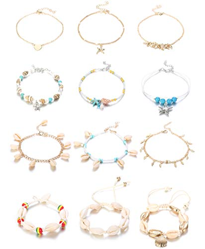 Hanpabum 12Pcs Bohemian Conch Starfish Pendant Rice Bead Beach Ankle Bracelets for Women Girls Gold Chain Heart Beach Foot Jewelry