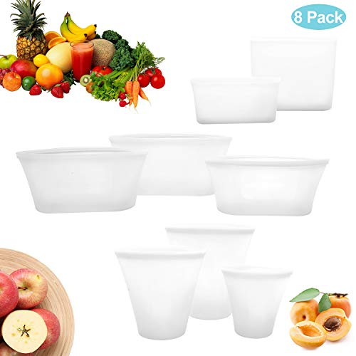 8Pcs Reusable Silicone Food Storage Bag, Zip Lock Top Leakproof Containers Stand Up Stay Open Zip Shut Portable Convenient Snack Fruit Dish Bag Cup, Microwave Oven & Freezer Bags - Complete Set White