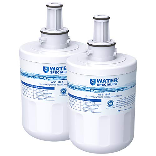 Waterspecialist Replacement Refrigerator Water Filter, Compatible with Samsung DA29-00003G, DA29-00003B, RSG257AARS, RFG237AARS, DA29-00003F, HAFCU1, RFG297AARS, RS22HDHPNSR, WSS-1, 2 Pack, White