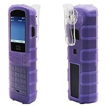 zCover Dock-in-Case® Cisco SPA302D DECT handset HealthCare Grade Ruggedized BackOpen Silicone Case w/ Fixed Low Profile Belt Clip, PURPLE