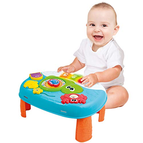 Activity Table for 1 Year Old and Up. 2-in-1 Baby Standing Activity Center. Interactive Learning Toy Piano and Kids Activity Table with Fun Ocean Characters. Crib Accessories with Detachable Straps