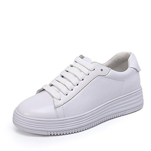 Dicke Bottom Hollow Kleine Weiße Schuhe,Koreanische Version Der Fashion,Leder Flach Bottom Pine Cake Board Schuhe C