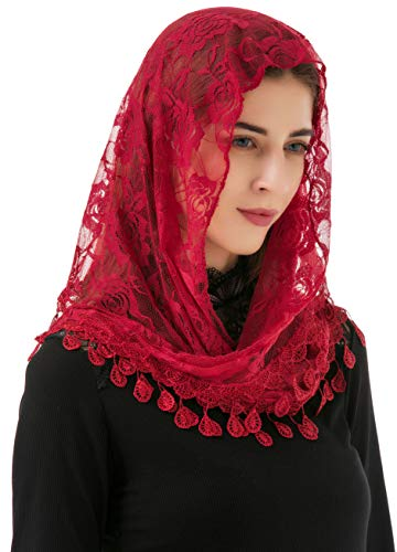 Pamor Mass Veil Triangle Mantilla Cathedral Head Covering Chapel Veil Lace Shawl Latin Scarf - Scarf Veil