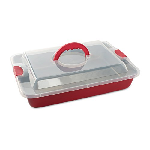 """011172466419 - Nordic Ware Freshly Baked Cake Pan with Lid, 9"""" x 13"""", Red carousel main 0"""