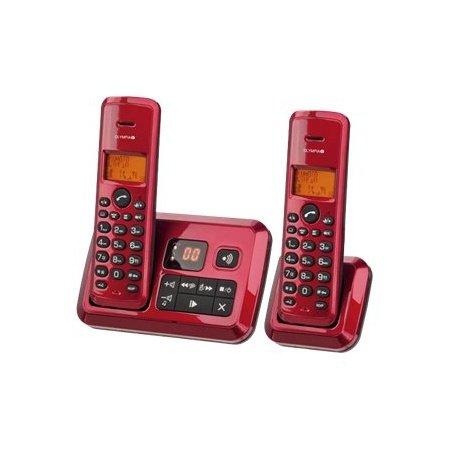 OLYMPIA 2144 Certo Twin schnurloses Telefon mit Anrufbeantworter rot