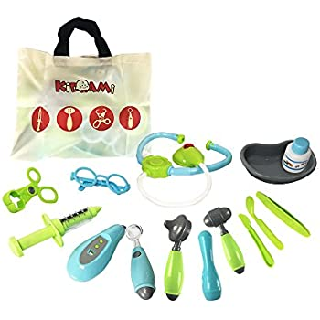 Kidami Pretend Doctor Kit Playset for Kids , Includes 14 Medical Equipments and a Handy Storage Bag