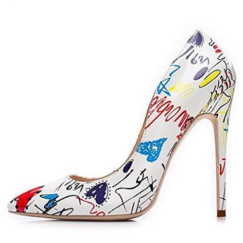 Pointed Toe Heels Stiletto Black Basic Shoes amp; Party White Women's Blue White PU Animal ZHZNVX Pump Fall Evening Heel Print Polyurethane Spring amp; ASqOzw7