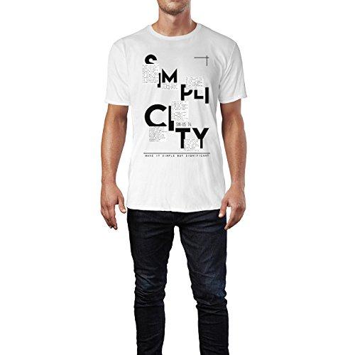 SINUS ART ® Make It Simple But Significant Herren T-Shirts in Weiss Fun Shirt mit tollen Aufdruck