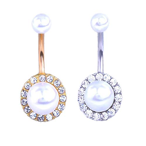 Wispun Diamond-Studded Belly Button Rings Anti-Allergic Belly Button Womens Navel Decoration