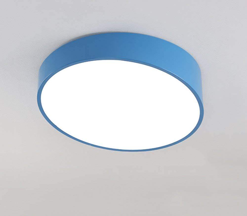 Im Europäischen Stil Farbe Schlafzimmer Leuchten warm und einfache LED Deckenleuchte geometrischen Beleuchtung Wohnzimmer Lampe kreative Deckenleuchten (Farbe  Blau, Größe  26 cm)