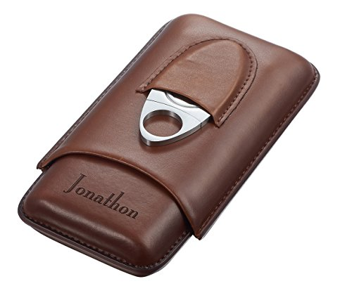 Personalized Legend Saddle Leather 3-Cigar Case and Cutter with Free - 1.4 Saddle