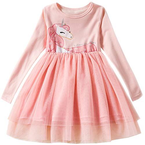 TTYAOVO Little Girls Longsleeve Unicorn Cartoon Casual Dresss Size 5-6 Years Peach