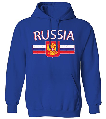 Russia Distressed Flag Stripe Banner -Russian Crest Mens Hoodie Sweatshirt (Royal, 2X-Large)
