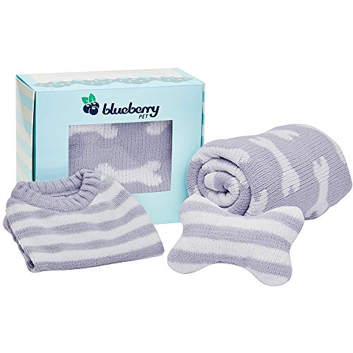 Blueberry Pet 2019 New Puppy Gift Box with Pack of 3 Chenille Products in Stylish Grey - Ultra Soft Cozy 14
