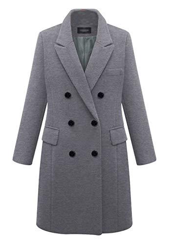 chouyatou Women's Basic Designed Notch Lapel Double Breasted Mid-Long Wool Pea Coat (XX-Large, Grey)