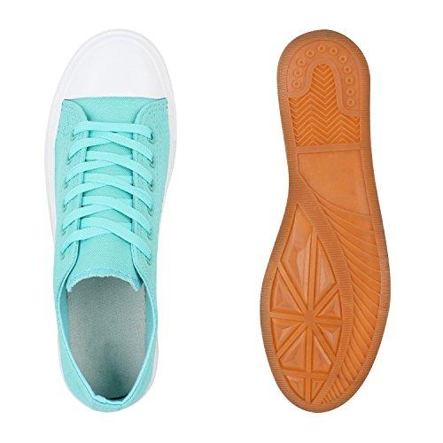 Stiefelparadies Komfortable Damen Basic Sneakers Low Helle Sohle Schnürer Flandell Türkis