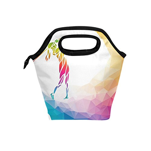 Bettken Lunch Bag Rainbow Geometric Golf Ball Insulated Reusable Lunch Box Portable Lunch Tote Bag Meal Bag Ice Pack for Kids Boys Girls Adult Men Women