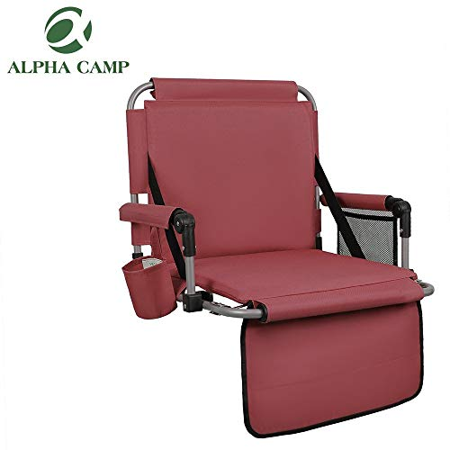 ALPHA CAMP Stadium Seat Padded Chair for Bleachers with Back& Arm Rest, Red
