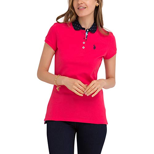 U.S. Polo Assn. Womens Solid Pique Polo Shirt with Printed Woven Collar - Red Cereza, Large