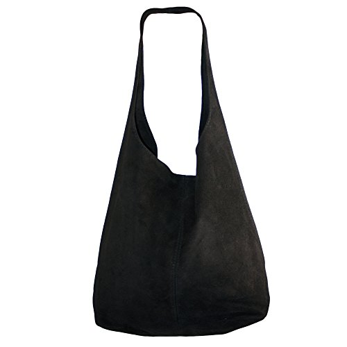 (Dazoriginal Suede Hobo Bags Handbag Shoulder Bag Slouch Italian Leather Women (BLACK))