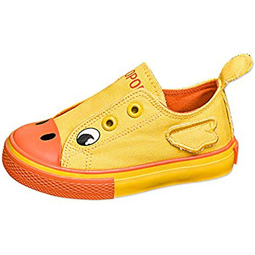 KaMiao Toddler Animal Printing Canvas Shoes Flat Laceless Slip-on Sneakers Walking Tennis Shoes School Shoes KM911-Yellow-22