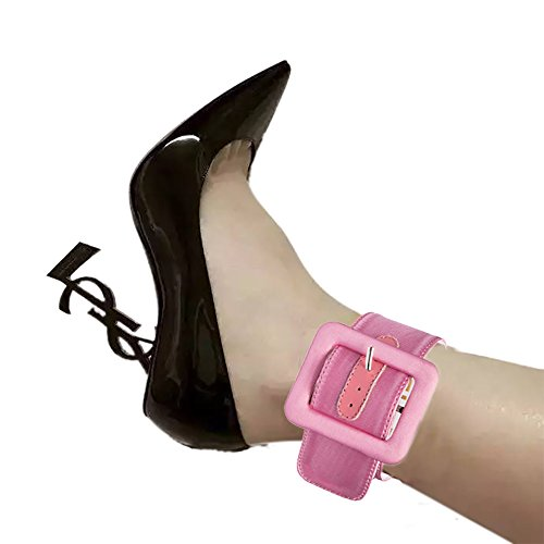 Women Fashion Anklet with Buckle Designed by FootTech [2 PIECES PACK] (Pink) Ladies Fashion Anklets