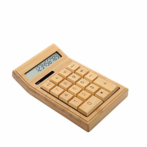 Sengu Handmade Natural Bamboo Wooden Solar Calculator