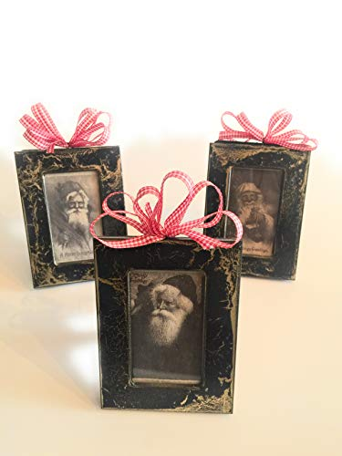 Set of 3 Victorian Santa picture frame ornaments. Farmhouse, Rustic, Victorian,Vintage Christmas ornaments. Gold metal frame. 2x3