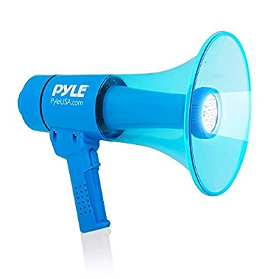 Pyle Portable Compact PA Megaphone Speaker With Alarm Siren, Adjustable Volume, 40W Handheld Lightweight Waterproof Bullhorn, LED Flashlight, Rechargeable Battery, Indoor Outdoor (PMP67WLTB)