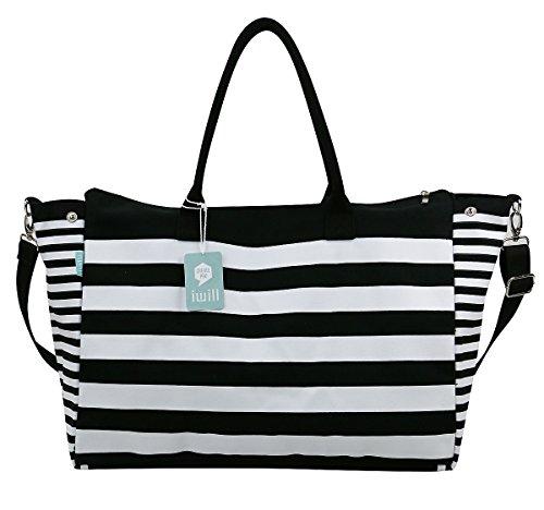 [Canvas Cross-body Bags,Travel Top-Handles Bag,Duffel Bag,Travel Shoulder Tote Bags] (Stripe Shoulder Tote Bag)