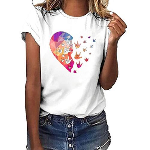 TUSANG Women Tees Plus Size Print Shirt Short Sleeve T Shirt Blouse Tops Slim Fit Comfy Tunic(D-White,US-8/CN-L)