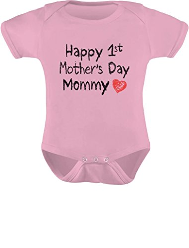 Gift for Mom - Happy First Mothers Day Mommy Infant Baby Bodysuit Newborn Pink -