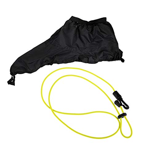 DYNWAVE Stretchy Kayak Spray Skirt Cockpit Deck Cover Black with Elastic 45 inch Paddle Fishing Rod Leash Cord Lanyard